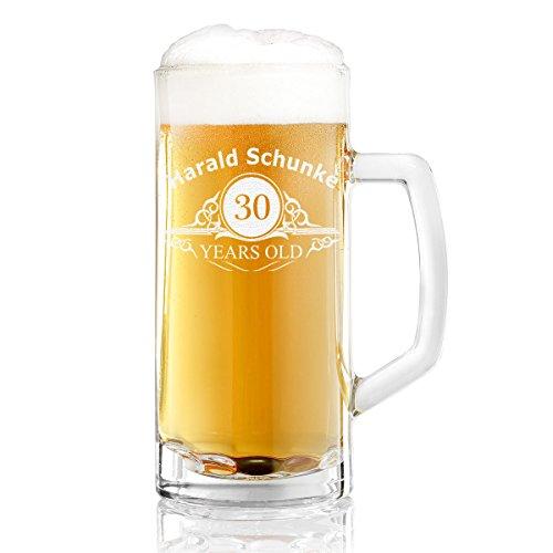 polar-effekt Bierkrug Personalisiert mit Gravur eines Namens und Jahreszahl – Bierseidel Geschenk-Idee zum Geburtstag - Motiv Altersangabe Years 0,5l
