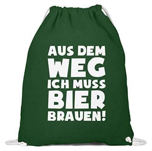 shirt-o-magic Braumeister: Muss Bier brauen! - Baumwoll Gymsac -37cm-46cm-Dunkelgrün