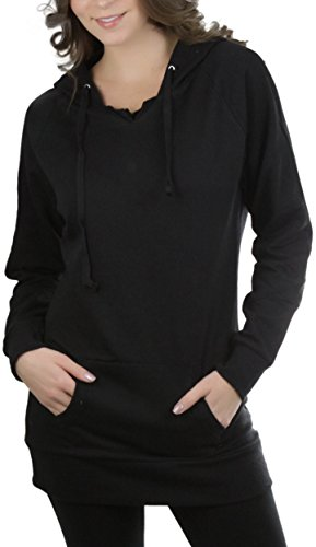 ToBeInStyle Women's Brushed Inner Fleece Long Hoodie - Black - Small