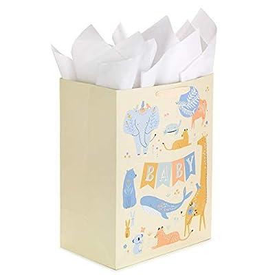 "Hallmark 17"" Extra Large Baby Tissue Paper Gift Bag, Jumbo, Yellow with Giraffe, Koala, Elephant, Whale from Hallmark"