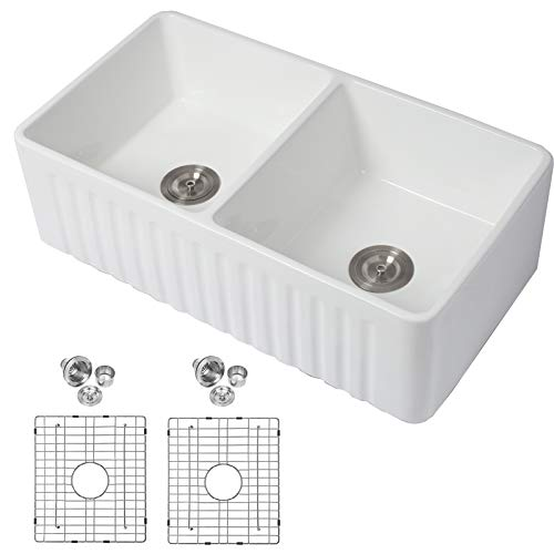 """Double Bowl Farmhouse Kitchen Sink- Mocoloo 33""""x18""""x10"""" Inch 50/50 Undermount White Flat Apron Front Fireclay Equal Two Bowls Farm Sink With Protective Stainless Gird and Strainer 10"""" Deep Basin"""