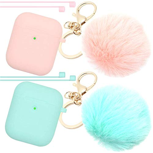 Airpods Case Newest Upgrade (Front LED Visible) ANTARCTICASE Skin Drop Proof Protective Pom Pom Keychain Case Cover Silicone for Apple Airpods 2&1 Charging Cute Fur Ball Keychain (Pink+Mint)