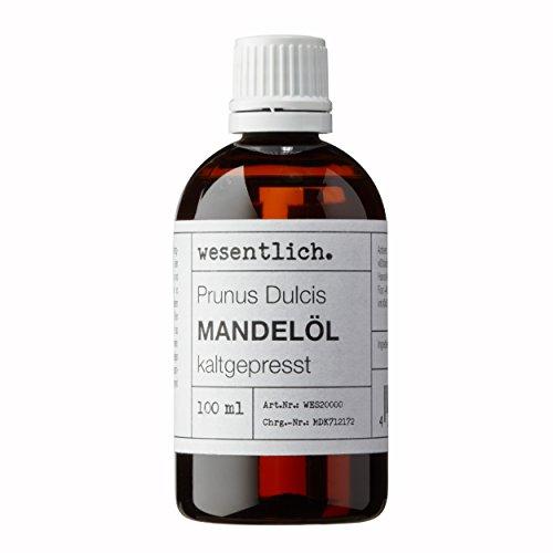 Mandelöl kaltgepresst 100ml - 100% reines Mandelöl (Prunus Dulcis) von wesentlich. - feines Öl zur Pflege von Haut und Haar - perfektes Massageöl