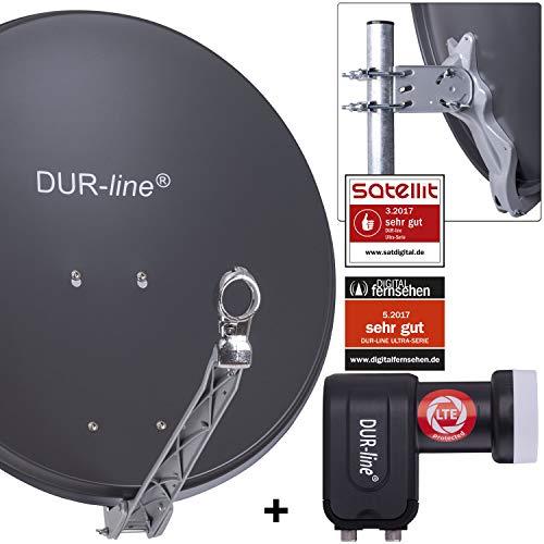 DUR-line 2 Teilnehmer Set - Qualitäts-Alu-Satelliten-Komplettanlage - Select 60cm/65cm Spiegel/Schüssel Anthrazit + Twin LNB - für 2 Receiver/TV [Neuste Technik, DVB-S2, 4K, 3D]