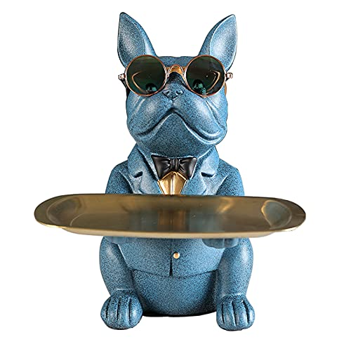 Scultura Bulldog Fresco Statua Francese con Vassoio in Acciaio Inossidabile, Statua, Decorazione della tavola, di Moda, Arredamento per la casa, Multifunzione, Portaoggetti da scrivania,Blu,B