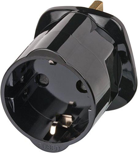 Brennenstuhl adaptador de enchufe de viaje britanico a europeo (toma de corriente de conector a tierra con adaptador enchufe a sistema de enchufe italiano) negro