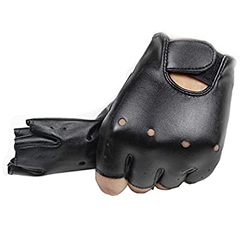 4-11 Y Kids PU Leather Fingerless Gloves for Boys Girls Outdoor Sports Gloves Long Keeper  Black1