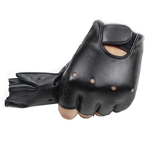 4-11 Y Kids PU Leather Fingerless Gloves for Boys Girls Outdoor Sports Gloves Long Keeper (Black1)