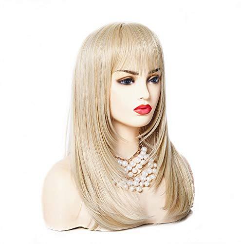 BESTUNG Lange Rechte Blonde Ombre Mode Lady Pruiken voor Vrouwen 20 Inches Synthetische Volledige Haar Natuurlijke Pruik met Bang voor Cosplay Kostuum of Dagelijks Leven