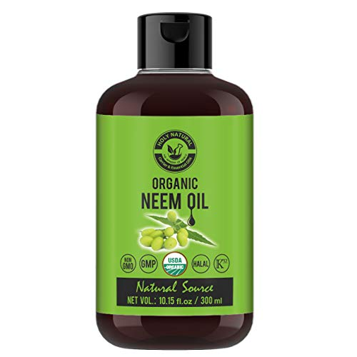 Organic Neem Oil (10.15 fl oz) USDA Certified, 100% Pure & Natural, Virgin Cold Pressed Neem Oil – Good for Dry Skin to Moisturize, Healthy Scalp Condition, Dandruff Free Hair