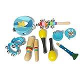 Gobbuy 10 Piezas/Set Instrumentos Musicales Set de Instrumentos Musicales, Set de percusión de Madera para niños y niñas auxiliares de enseñanza de jardín de Infantes