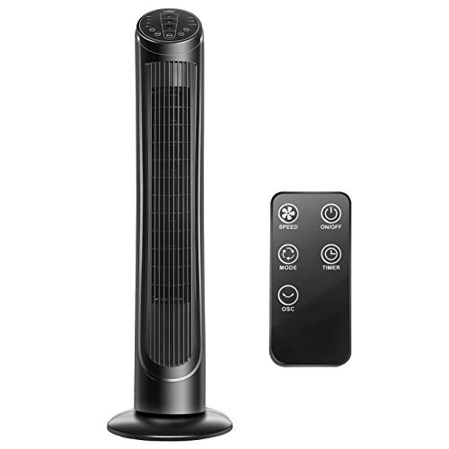 """40"""" Oscillating Tower Fan with Remote Control Quiet for Cooling Indoor Room Bladeless Fans 3 Wind Modes & Speeds, 7.5H Timer for Home Office, Black Upgraded Windy"""
