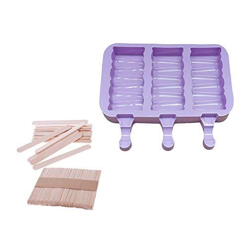NWQEWDG Moldes de silicona para helados, moldes para helados, moldes para helados, sin BPA, reutilizables, con 50 palitos de madera