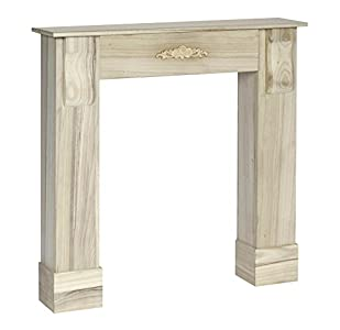 Chimenea Imitación Decoración de madera estilo de la alquería vintage retro shabby color blanco