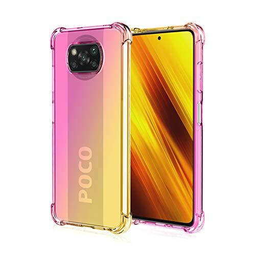 FANFO Funda para Xiaomi Poco X3 Pro/Xiaomi Poco X3 NFC, Color Degradado Transparente TPU Carcasa Ultradelgado Antimanchas Silicona Case Compatible Carga Inalámbrica Cover, Oro/Rosado