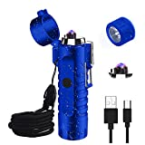 Waterproof Lighter, JiaDa Electric Lighter Flashlight USB Rechargeable Arc Lighter, Portable Handheld,IPX7 Water-Resistant for Outdoor Camping - 2 in 1 (Blue)