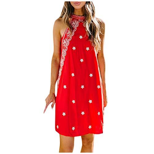 Lowest Prices! Toimothcn Women Vintage Sleeveless Halter Dress Floral Print Patchwork Off Shoulder D...