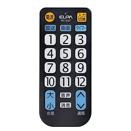ELPA エルパ テレビリモコン 大きなボタンで押しやすさと見やすさを追求 国内主要メーカー対応 IRC-202T(BK)