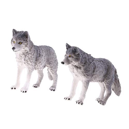 Backbayia 2 Stück Realistische Wolf Modell Dekofigur Tierfigur Kinder Spielzeug Geschenk