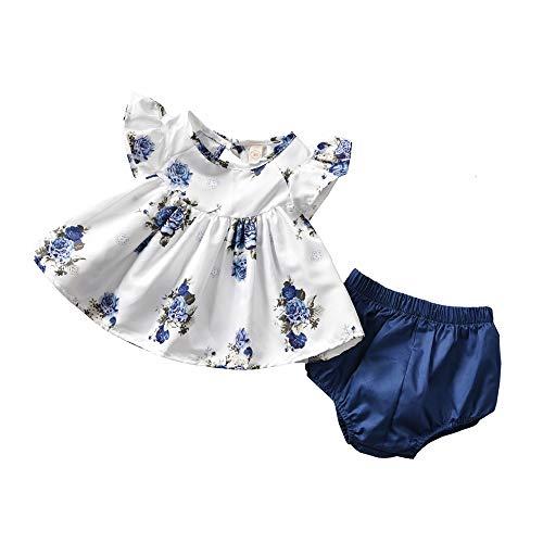 T TALENTBABY - Conjunto de ropa de verano para bebé y niña (0-24 m), color blanco