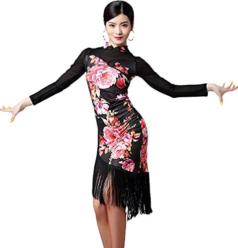 Vestido de Baile Latino de Manga Larga Vestido de una Pieza con borlas de Baile Latino para Mujeres Trajes de Baile de saln de Baile Femenino Cha Cha Rumba,A,XXL