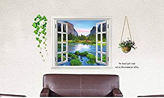 Fake Window Wallpaper Decorative Wall Stickers Large Home Decoration Summer Style 90X60cm AY893