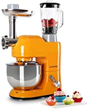 KLARSTEIN Lucia Orangina • Multifunction Stand Mixer • Kitchen Machine • 650 Watts • 5.3 qt Bowl • 1.3 qt Mixing Glass • Meat Grinder • Pasta Maker • Blender • Adjustable Speed • Orange