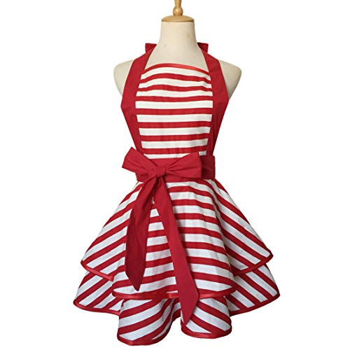 Hyzrz Lovely Handmade Cotton Retro Aprons for Women Girls Cake Kitchen Cook Apron for Mother's Gift (Red)