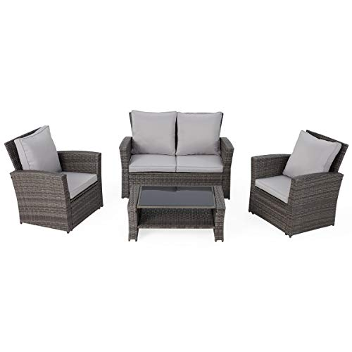 EROMMY 4 Pcs Patio Furniture Sets Retro Wicker PE Rattan Conversation Furniture Set with 4 Seats,Tempered Glass Table Top,Cushion Outdoor Garden Furniture Sets