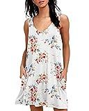 Abravo Mujer Vestido Estampado Floral sin Mangas Vestido Casual Corto Playa con un Bolsillo (S, Z-Blanco)