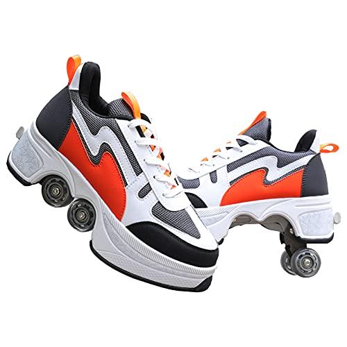 YUNWANG Patines 4 Ruedas Profesionales Patines De Exterior E Interior Multifuncional Deformación Patines En Paralelo Parkour Zapatos Mujer Y Hombre