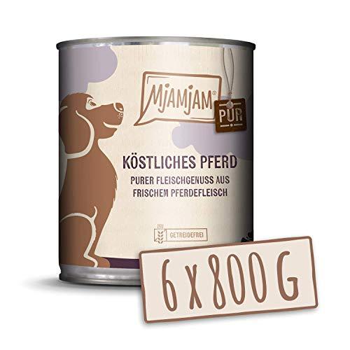 MjAMjAM Mangime Umido per Cani, Puro Cavallo Delizioso, senza Cereali - Pacco da 6 x 800 g