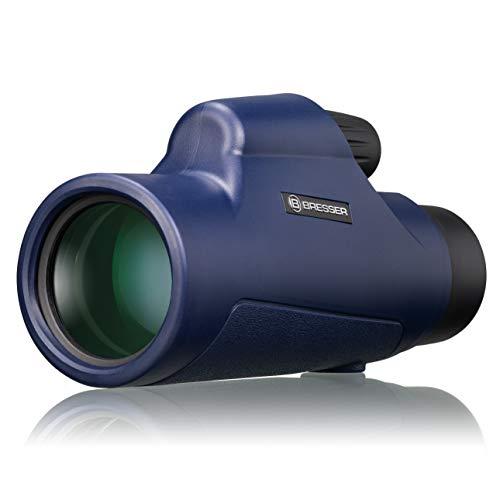 Bresser Monokular Topas 7x42 wasserdicht für Wassersportler mit Dachkant Optik, blau, 8910160