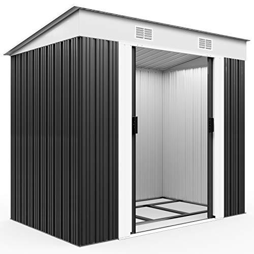 Deuba L Metall Gerätehaus 2m² mit Fundament 196x122x180cm Schiebetür Anthrazit Geräteschuppen Gartenhaus 3,4m³
