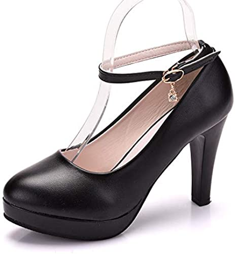FLYRCX Moda Estilete Cabeza rotonda Honda Negra Tacones Altos señoras Elegante Temperamento schuhe de Trabajo de Oficina schuhe Individuales