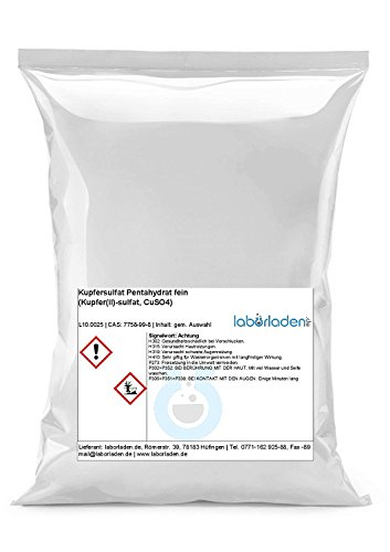 500g Kupfersulfat Pentahydrat (Kupfer(II)-sulfat, CuSO4, für Labor, Werkstatt, Kristallzucht, Pool) (500)