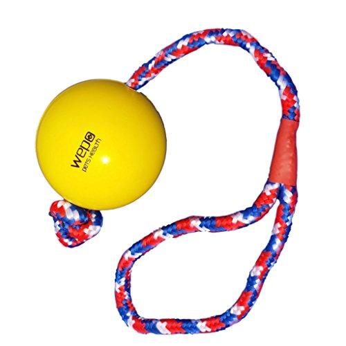WEPO Hundespielzeug - Schleuderball mit Seil aus Naturkautschuk - Ideal für Welpen - Wurfball für Hunde- Welpenspielzeug - Ball mit Seil/Schnur