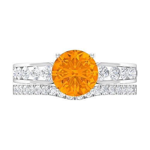 Anillo solitario vintage, 3,15 quilates con forma redonda, anillo de oro D-VSSI moissanite, anillo de novia relleno de vidrio rubí de 8 mm, 14K White Gold, Glass Filled Ruby, Size:US 70