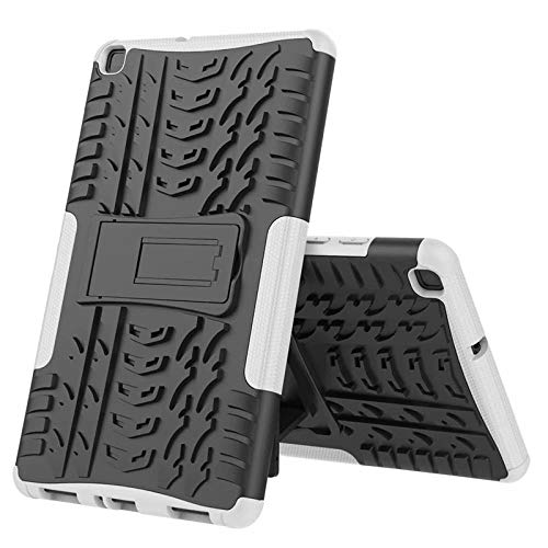 Nieuwe Tablet Case voor Samsung Tab ONE 8.0 inch 2019 T290 T295 T297 Back Cover 2 in 1 Silicon zachte harde Stand Armor Heavy Rugged case Kleur: wit
