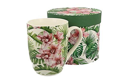 Duo Tropical Colección Taza 375 ml Chloe de New Bone China Porcelana en Caja de Regalo, Taza de café, Taza de té, Taza de té