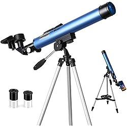 TELMU Telescopio Astronomico, l'Ingrandimento è 30X e 48X, con Mirino a Infrarossi, Treppiede Regolabile (60-110cm), Un regalo per gli Appassionati di Astronomia Entry-Level