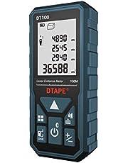 DTAPE レーザー距離計 最大測定距離100M 距離/面積/体積/ピタゴラス間接測定/連続測定 自動計算 軽量距離計 IP54防水規格 日本語のお取り扱い説明書 DT100