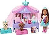 Barbie Princess Adventure coffret Histoire du Soir avec mini-poupée Chelsea rousse, 2figurines animaux et accessoires, jouet pour enfant, GML74