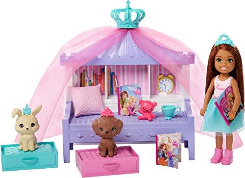 Barbie GML74 Prinzessinnen-Abenteuer Geschichten-Spielset mit Chelsea-Puppe, für Kinder von 3 bis 7 Jahren