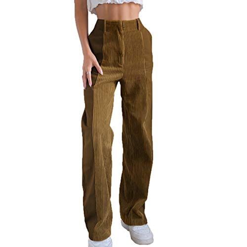 Yeselect Women´s Corduroy Patchwork Pants, High-Waist Gradient Trousers Straight Wide Leg Long Jeans Zipper Pocket Casual Bottoms (Brown, XL)