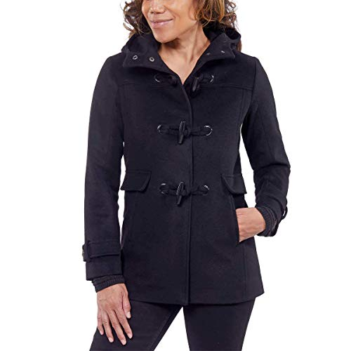 Pendleton Ladies' Toggle and Button Front Closure Wool Coat (Black, Large)