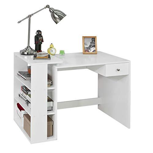 SoBuy Mesa de Escritorio, Mesa de Ordenador con un cajón y 4 estantes,Color Blanco, L 101 x H 76 cm,FWT35-W,ES