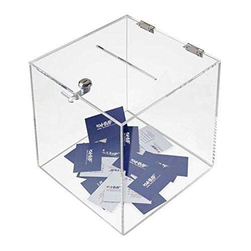 HMF 46917 Caja de donación de acrílico con cerradura | 25 x 25 x 25 cm | DIN A5 | Transparente