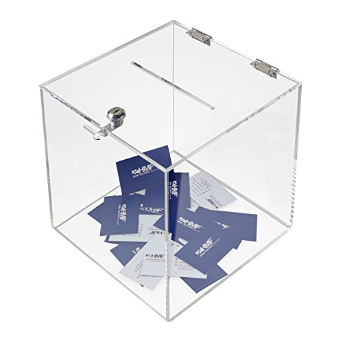 HMF 46917 Acryl Spendenbox mit Schloss | 25 x 25 x 25 cm | DIN A5 | Transparent
