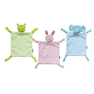 3-Pack Colorful Security Blankets with Stuffed Animal Head Baby Lovey Blankie – Elephant & Rabbit & Frog